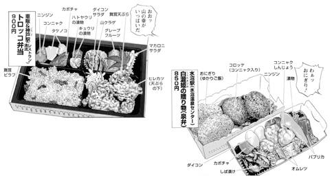 車販&神戸駅「トロッコ弁当」、水沼駅(水沼温泉センター)「白瀧姫の贈り物(泉弁)」