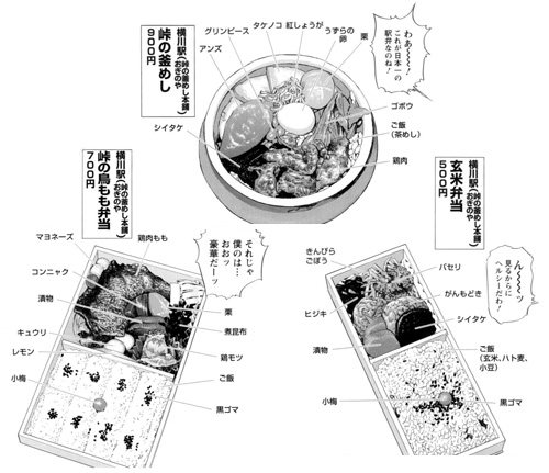横川駅「峠の釜めし」,「峠の鳥もも弁当」,「玄米弁当」