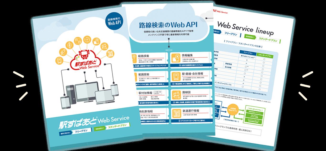 「駅すぱあとWebサービス」製品資料製品資料のイメージ図